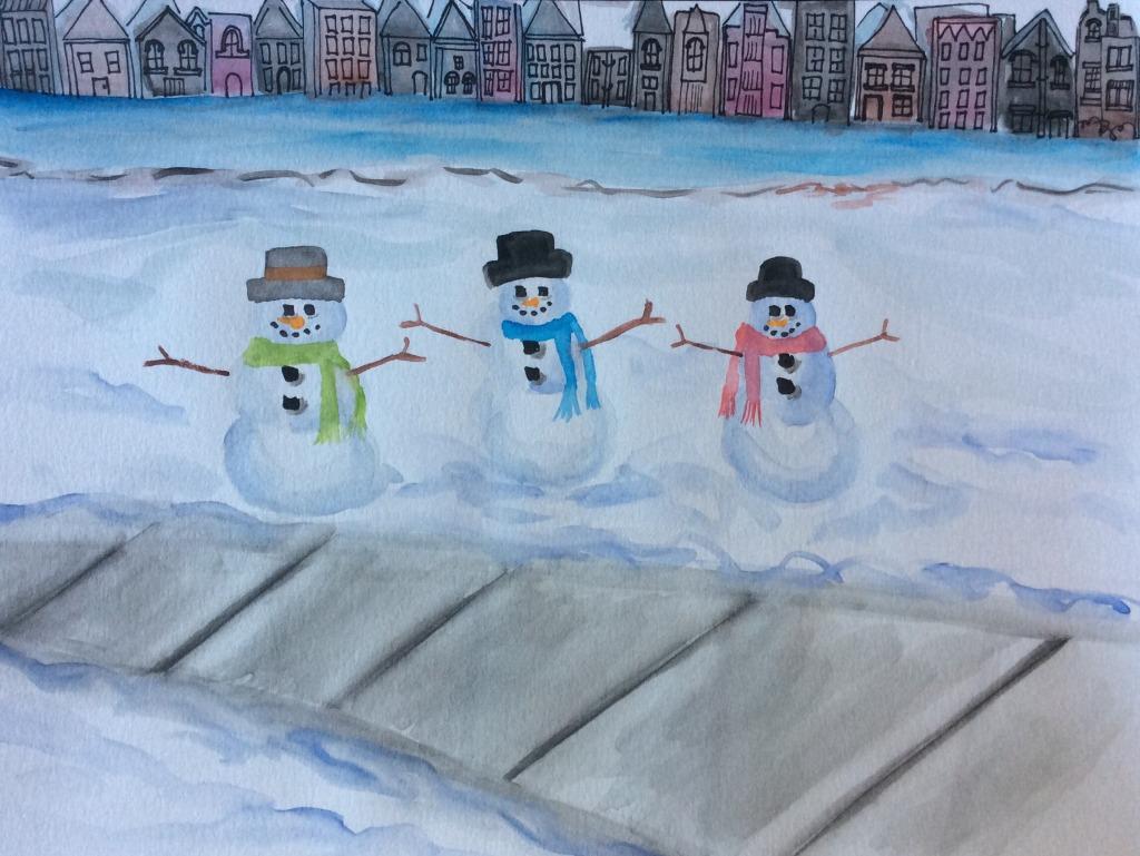 Snowmen in the city