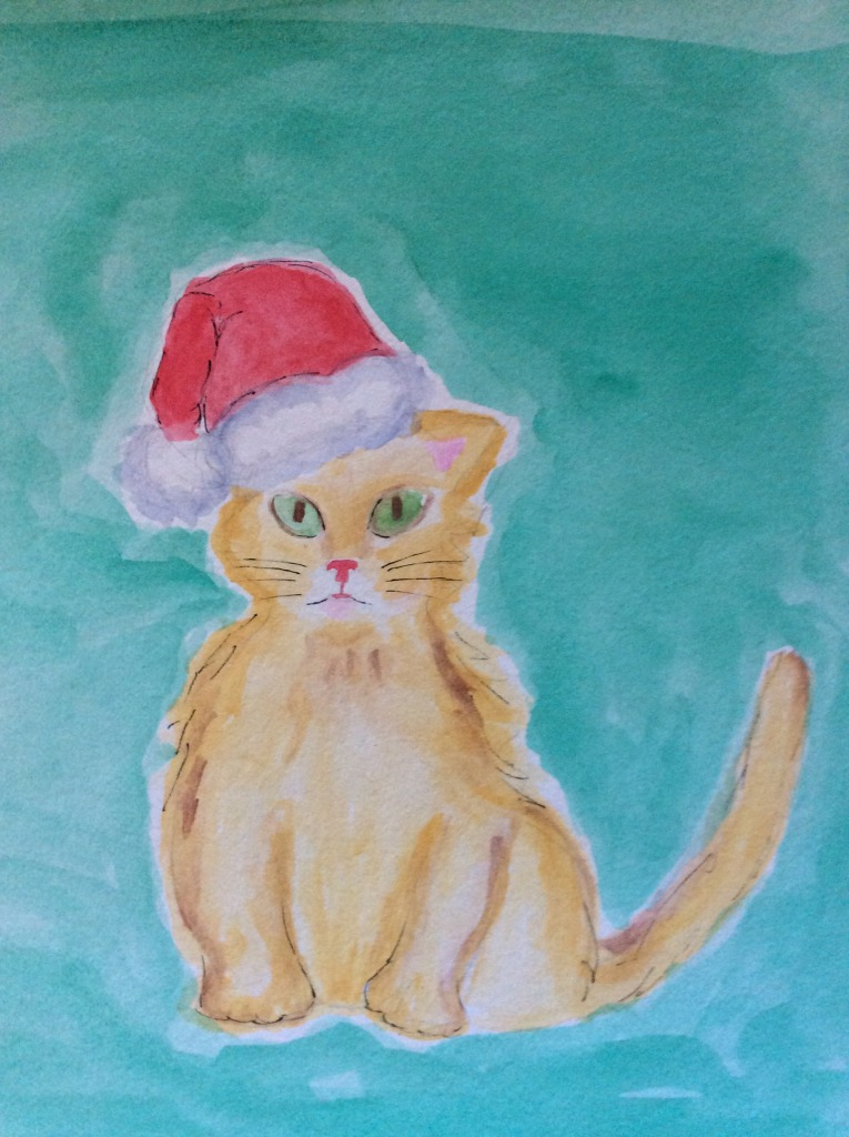 This watercolor was inspired by the many kitties at my house.